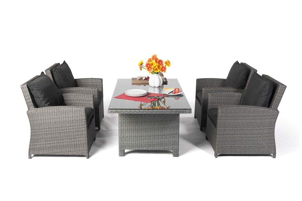 Ellis rattan garden furniture dining lounge in mixed grey for Esstisch grau