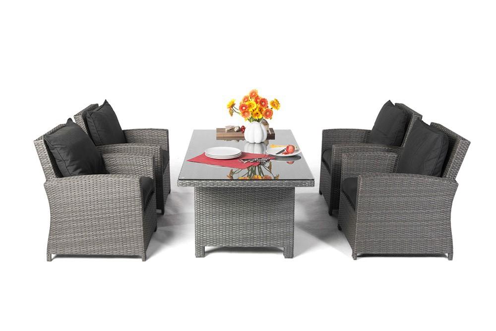 Ellis Rattan Garden Furniture Dining Lounge In Mixed Grey
