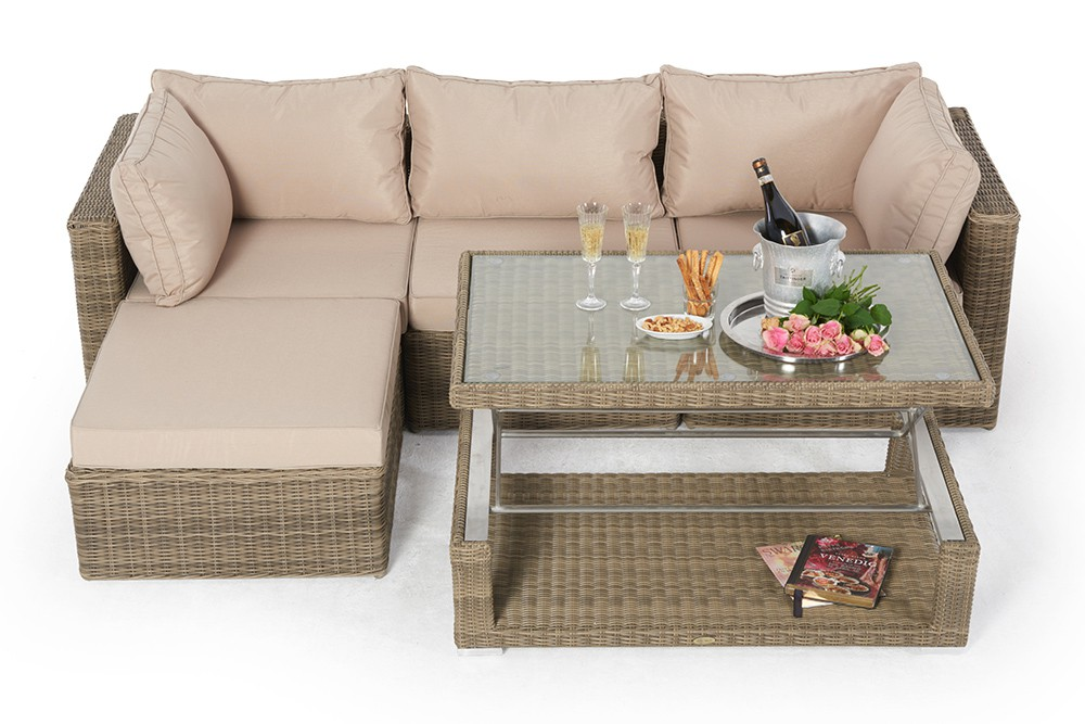 Outdoor furniture with Height adjustable table - alicia natural round