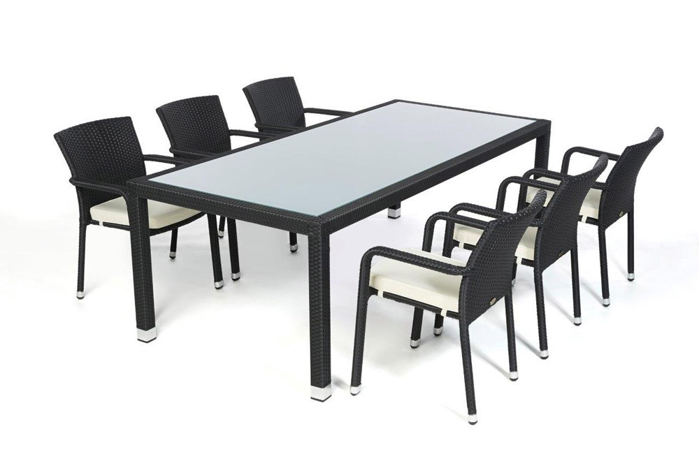 Garden furniture orlando rattan garden dining set table for Tisch schwarz