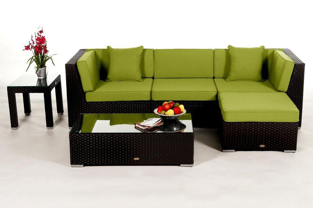 ... Dark Brown Leonardo Rattan Lounge With The Green Cushion Cover Set · Rattan  Gartenmöbel: ...