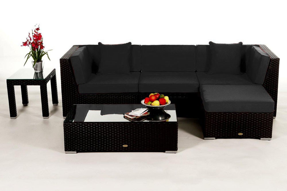 Elegant ... Black Leonardo Rattan Lounge With The Black Cushion Cover Set ...