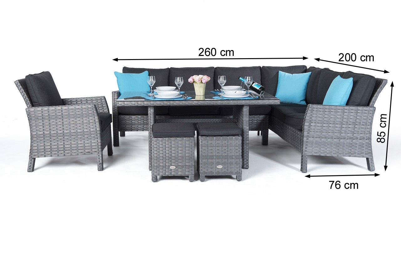 Manchester Rattan Garden Furniture Dining Lounge In Mixed Grey