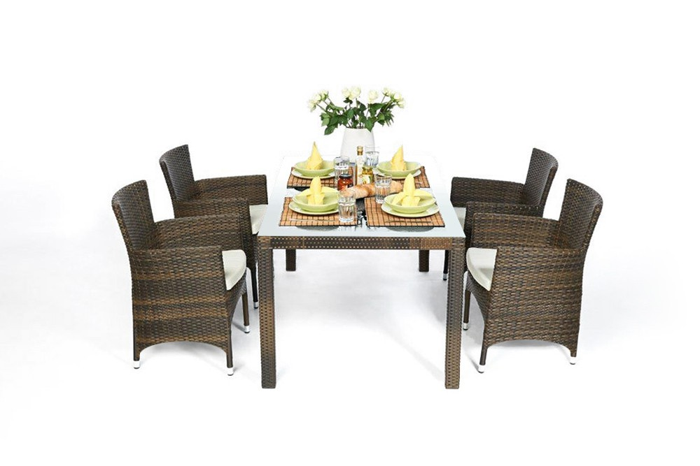Nairobi Rattan Garden Dining Set 180 In Mixed Brown