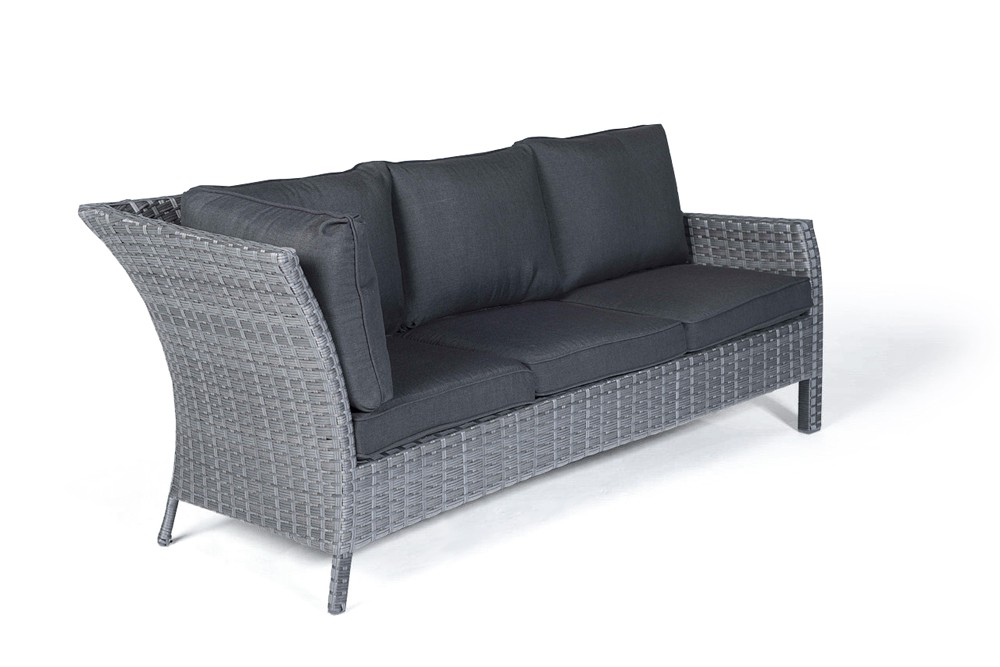 Paddington Rattan Garden Furniture Dining Lounge Sofa in Mixed Grey