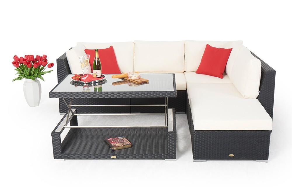 Gartenlounge Mit Esstisch outdoor furniture - with height adjustable table - stella - black