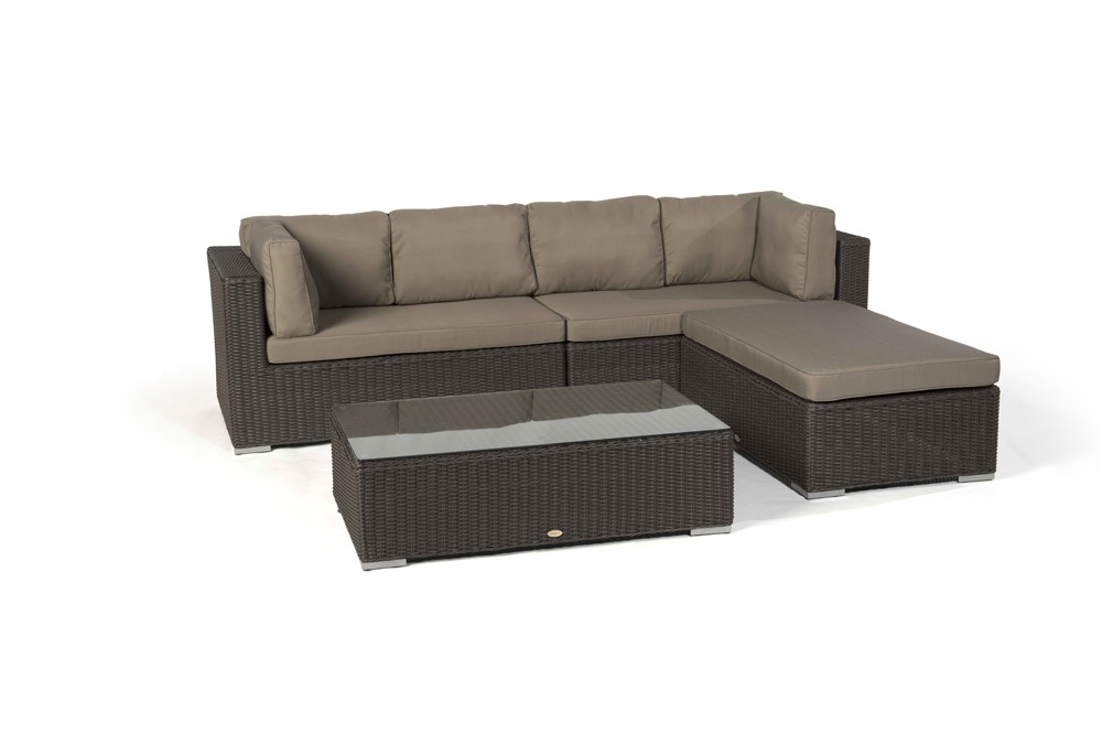milano rattan round lounge set in brown. Black Bedroom Furniture Sets. Home Design Ideas