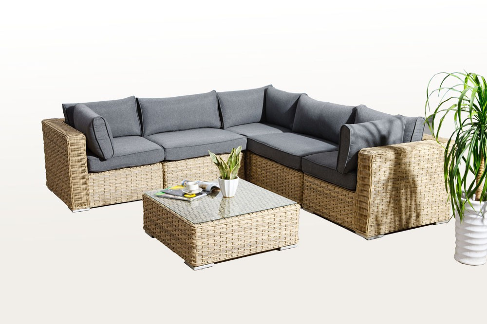 Mykonos Rattan Lounge, Light Brown - rattan garden ...