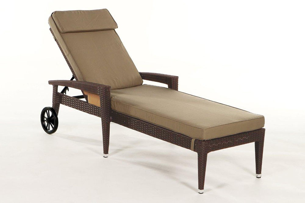 ... Brown Florenz Rattan Sunlounger With Sandy Brown Seat Cushion Cover