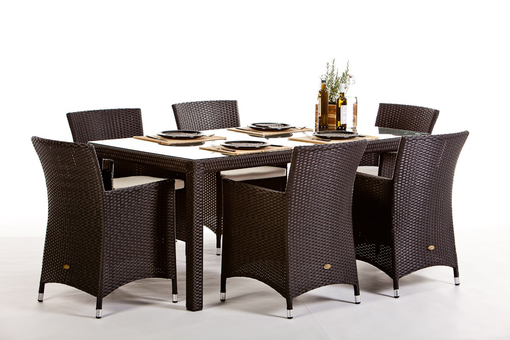 Garden furniture nairobi rattan dining set in black