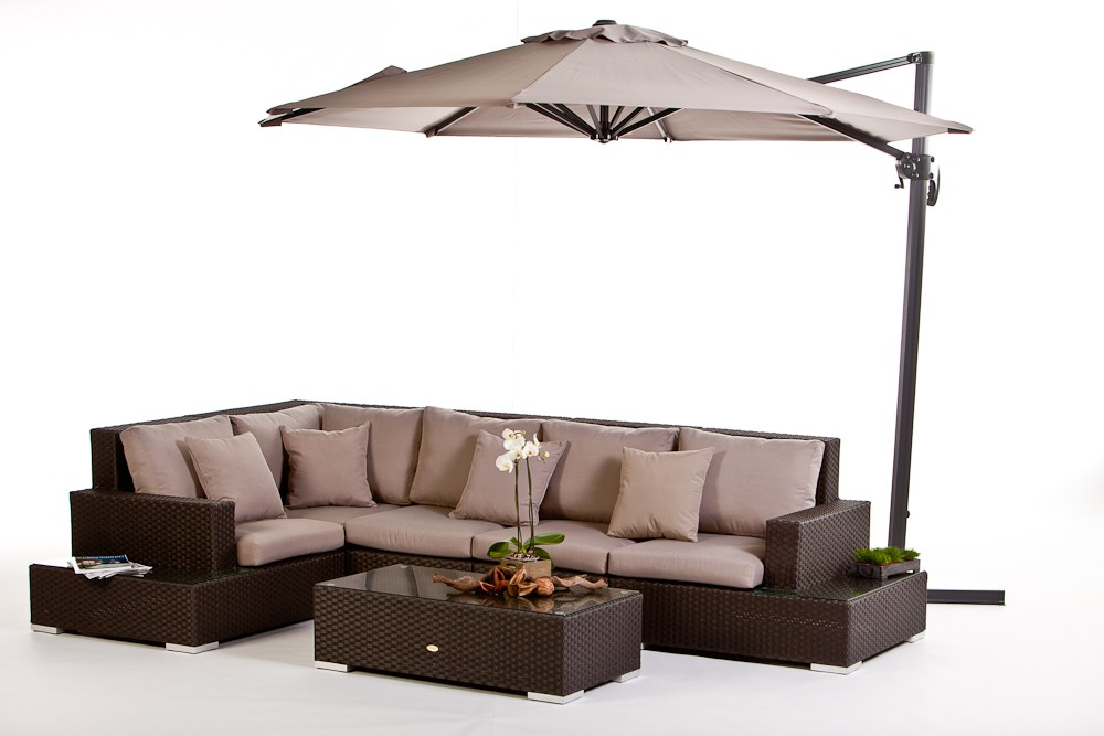 swing parasol, sandy brown - matches perfectly your wicker furniture,