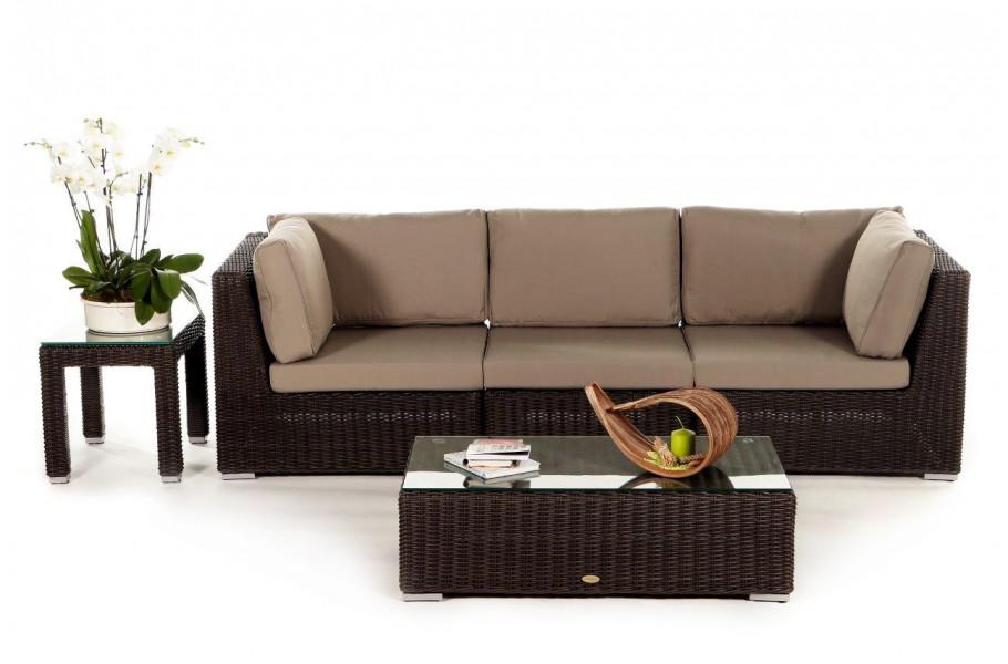 Birmingham Rattan 3-seater Lounge, brown- rattan garden furniture ...