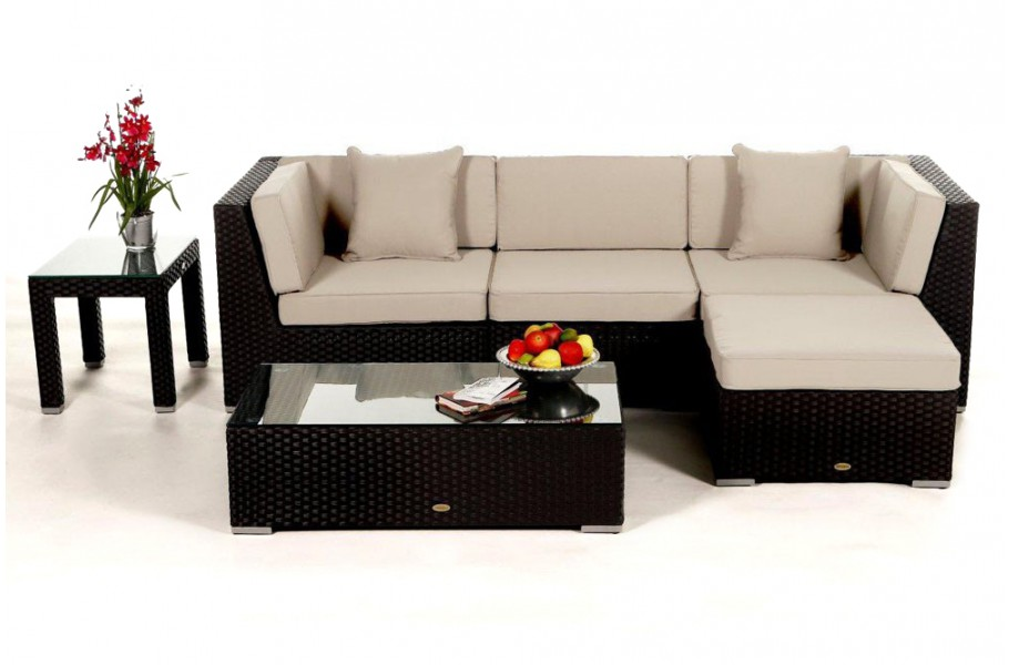 Rattan Gartenmöbel: Leonardo Lounge Schwarz, Überzug Beige