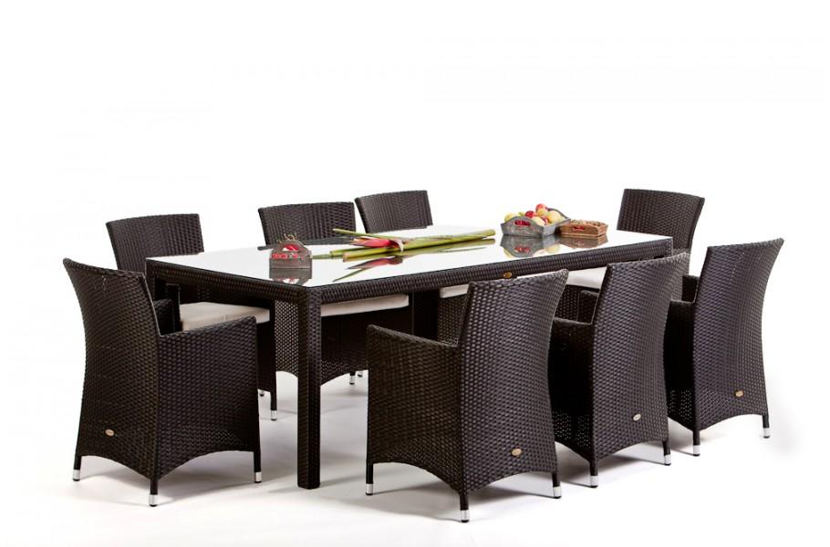 Rattan Gartenmöbel Tisch Und Stuhl Nairobi Dining 220 Schwarz