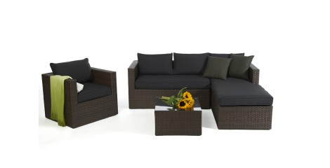 Brooklyn Rattan Round Lounge In Brown