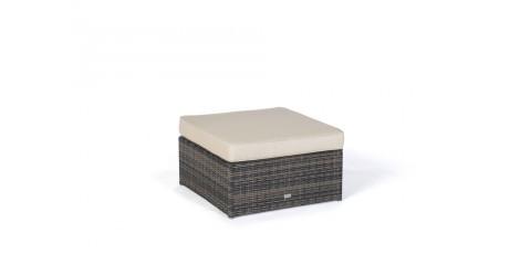Panda Rattan Garden Furniture In Brown  Sidestool With Upholstery In Sandy  Brown