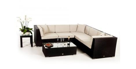 Rattan Gartenmöbel: Sahngrila Lounge Schwarz, Überzug Beige